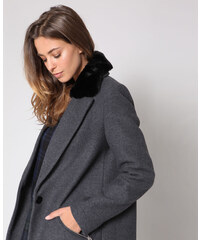 Kurzer Mantel aus Kunstfell Damen Farbe Zartbeige Größe