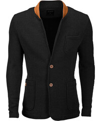 Ombre Clothing Pánské neformální sako se záplatami na loktech Jacques černé f9a29391f4