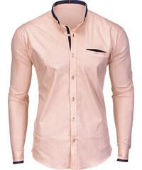 Ombre Clothing Pánská košile s kapsou Denver broskvová 5ec4a8ec5d