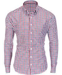 acf753f49e9c Ombre Clothing Pánska kockovaná košeľa Rossi bielo-červená