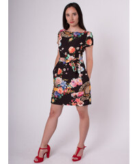 e032ca83c047 STATION Čierne kvetované šaty s vreckami