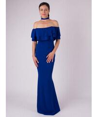 MODA ITALIA Modré dlhé spoločenské šaty okolo krku 42422d0dd4