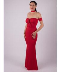 MODA ITALIA Červené dlhé spoločenské šaty s odhalenými ramenami 1e5c91d19a8
