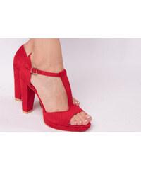 4ca3bf591c9b Yes mile Červené sandále na širokom opätku