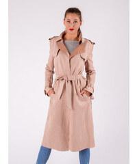 749a91aa1f53 Moda Dámsky béžový jesenný kabát s opaskom