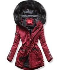 MODOVO Dámska zimná bunda s kapucňou PO-305 bordová 84d7c73dcfb
