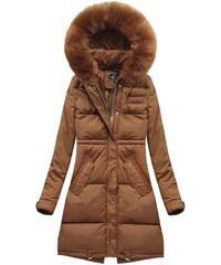 The SHE Hnedá dámska zimná bunda s kapucňou cf221f41dc1