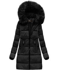 The SHE Čierna dlhá dámska zimná bunda s kapucňou 5ea4c172e76