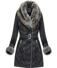 The SHE Čierny dámsky zimný kabát s kožušinou 27f3b330faf