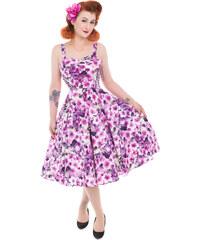 5e0073701d76 Dedoles Retro pin up šaty Fialové kvety XL