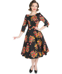 a44ef4ca5c5d Dedoles Čierne retro pin up šaty s rukávom Súkvetie XS