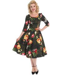 a3badc040973 Dedoles Retro pin up šaty s rukávom Maľované ruže S