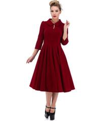 360a49ebdc71 Dedoles Červené sametové retro pin up šaty s rukávy 4XL
