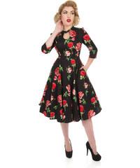 32d7d2fab24c Dedoles Čierne retro pin up šaty s rukávom Červené ruže L