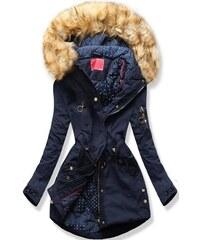 MODOVO Dámska zimná bunda s kapucňou Q32 tmavo modrá 0839b169ddb