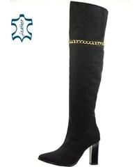 b6ccd0912337 OLIVIA SHOES Čierne vysoké čižmy nad kolená 663 black nub