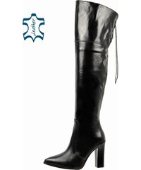 8ea1db7dbd52 OLIVIA SHOES Čierne vysoké čižmy nad kolená A663