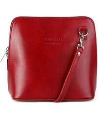 ITALSKÉ Trendová kožená kabelka crossbody Italská červená Milana 66404fd9ddd