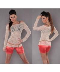 KouCla Dámské krajkové tričko s výstřihem carmen béžové b933153a66