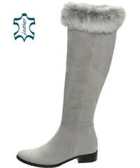 Sivé vysoké čižmy s pravou kožušinkou K979 - OLIVIA SHOES b459e57c4d1