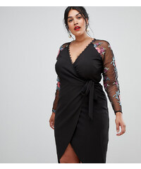 Little Mistress Plus wrapover pencil dress with embroidered sleeve detail -  Black a5fcd098e6