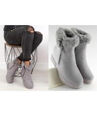 8c46be21895 BELER Dámská zimní obuv na klínku Sherrie šedá