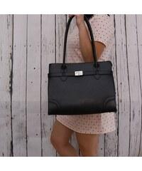 Talianske kožené kabelky luxusné veľké cez rameno čierne Debora 852639dc752