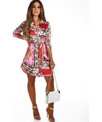 ZAZZA Saténové košeľové šaty v ružovej farbe 697abb6491