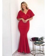 ZAZZA Dlhé spoločenské šaty v červenej farbe b88e3c3714b