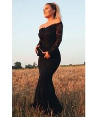 d144824aaea2 ZAZZA Dlhé spoločenské čipkované šaty v čiernej