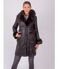 46ee9135d1ec M. SARA Dlhá čierna kožená bunda s kožušinou