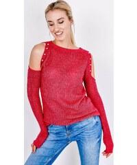 b44e144c7d01 BASIC Červený sveter s odhalenými ramenami - SW21