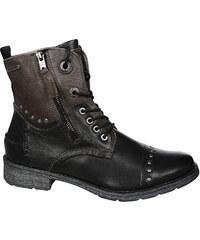 Bugatti Dámské kožené kotníkové boty Kyra 421330311015-1011 Black Dark Grey 0b51de0013