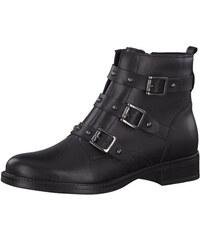 3a1dc4ef735b Čierne kožené členkové kvetované topánky Tamaris - Glami.sk