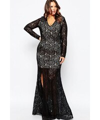 LM moda A Dlouhé černé krajkové šaty 60793 b01661fc92