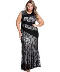 LM moda A Elegantní dlouhé černé šaty s krajkou 0472 8a68d069a1
