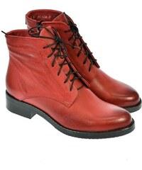 ACORD Dámske červené členkové kožené topánky MERICAN 36 12471807cad