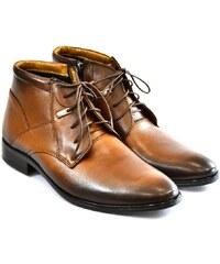 I-GUANA Pánske hnedé kožené zimné topánky TYRION 39 d3bab3cc784