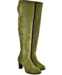 23d053df0ac2 ALEX Dámske olivovo-zelené kožené čižmy KYOKO 36