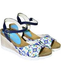 302405bdd21b Azúrovo-modré kožené sandále na klinovom opätku Carsona TARA 36