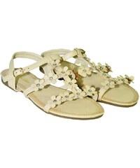 4e7dd90855ba COMER Béžové kvietkované nízke sandále CARMEN 36