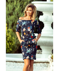 8a6e6a7037f NUMOCO Dámské šaty Kočka Květinářka modré