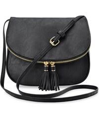 9dd35494d9a World-Style.cz Výjimečná listonoška s klapkou dámská kabelka střapce – černá