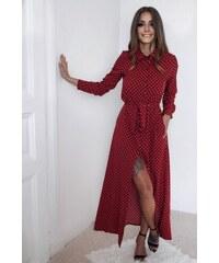 ZAZZA Dlhé bodkované košeľové šaty v červenej farbe 8247a82e5d
