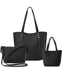 World-Style.cz Tři dámské kabelky shopper listonoška mini kufřík sada –  černá a0ee32021e6