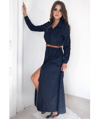 ZAZZA Dlhé bodkované košeľové šaty v tmavo-modrej farbe 5fa8c7e9da