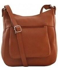 6c255780e12 Talianske kožené kabelky dámske cez rameno stredné camel Zolana