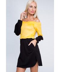 e0a1071f0b56 Fasardi Jarní šaty žluto-černé 6563