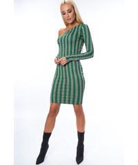 cb7adfd6ad2 Fasardi Dámské šaty s pruhy a s asymetrickým výstřihem-zelené
