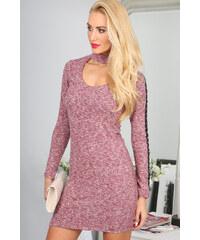 e97e3c4b14bd Fasardi Pudrové šaty s chokerem BB5320